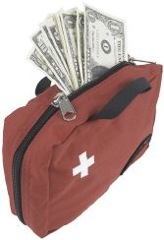 Healthcare Factoring Money in First Aid Bag